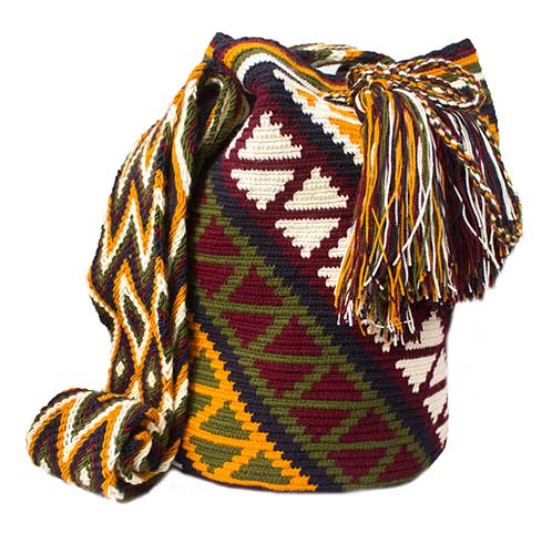 Colombian Wayuu Mochila Bags Online sale - Red wine Wayuu Mochila Bag