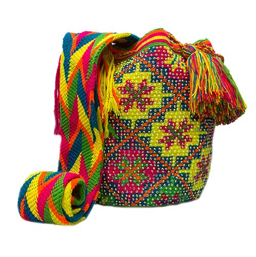 Colombian Wayuu Mochila Bags Online sale - Yellow Blue Wayuu Mochila Bag with crystals
