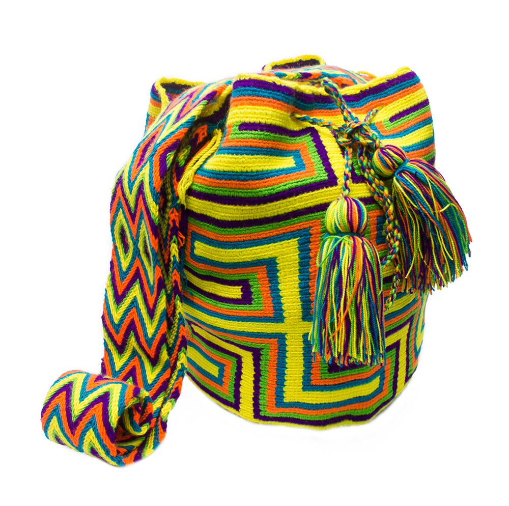 Colombian Wayuu Mochila Bags Online sale - Wayuu Mochila Bag in yellow and bright colors