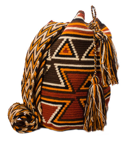 Colombian Wayuu Mochila Bags Online sale - Orange and Brown Wayuu Mochila Bag