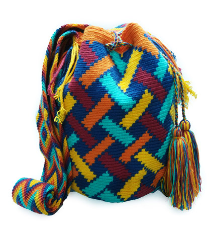 Colombian Wayuu Mochila Bags Online sale - Blue and orange Wayuu Mochila Bag
