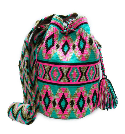 Colombian Wayuu Mochila Bags Online sale - Blue and Pink Wayuu Mochila Bag