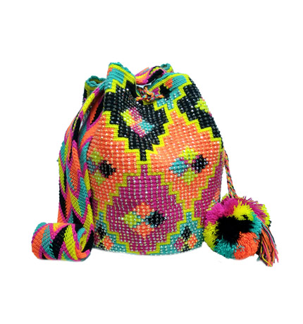 Colombian Wayuu Mochila Bags Online sale - Wayuu Mochila Bag bright tones and crystals