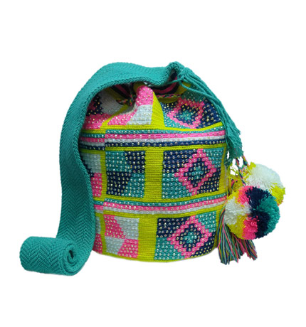 Colombian Wayuu Mochila Bags Online sale - Wayuu Mochila Bag multicolor with crystals