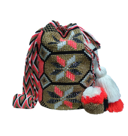 Colombian Wayuu Mochila Bags Online sale - Wayuu Mochila Bag brown earth tones and orange with crystals