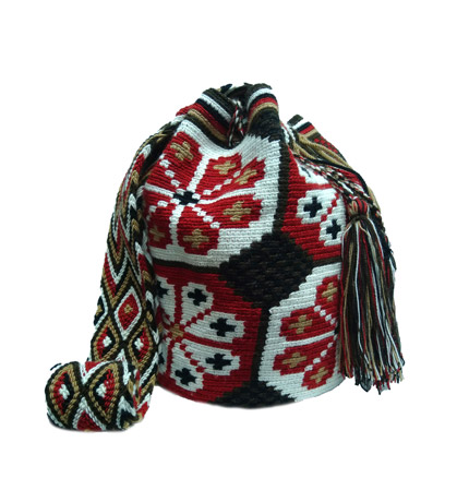 Colombian Wayuu Mochila Bags Online sale - Wayuu Mochila Bag in earth colors and red