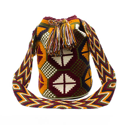 Colombian Wayuu Mochila Bags Online sale - Wayuu Mochila Bag in red wine and orange color
