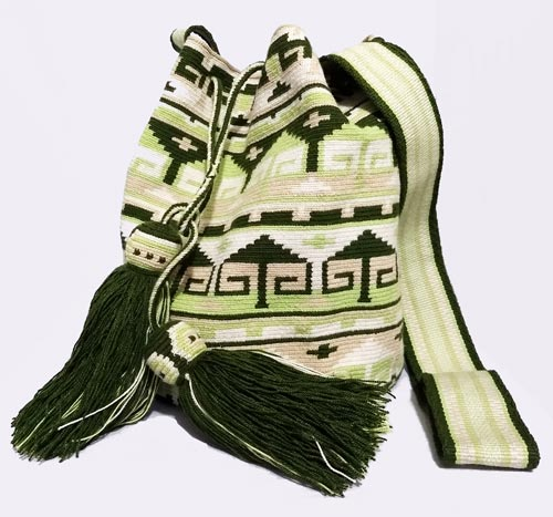 Colombian Wayuu Mochila Bags Online sale - White and Green Wayuu Mochila