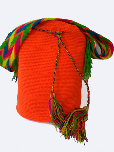 Solid color Wayuu Mochila Bags - Orange Wayuu Mochila