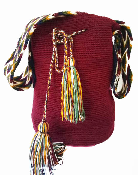 Solid color Wayuu Mochila Bags - Red Wine Wayuu Mochila