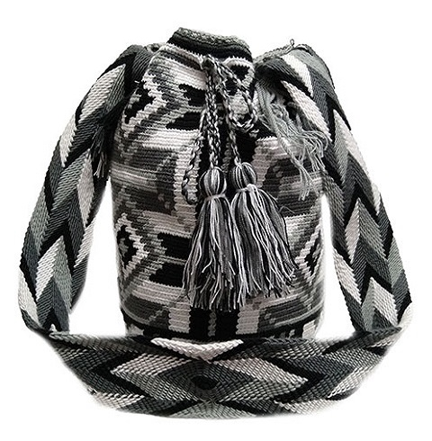 Colombian Wayuu Mochila Bags Online sale - Wayuu Mochila Bag in gray colors