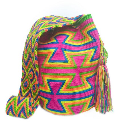 Colombian Wayuu Mochila Bags Online sale - Wayuu Mochila Bag in fuchsia and bright colors