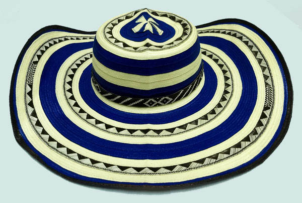 Colombian Vueltiao Sombreros and Hats - Blue Vueltiao Hat 21 Laps