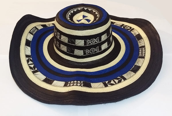 Colombian Vueltiao Sombreros and Hats - Sombrero Vueltiao Hat 21 Black and Blue