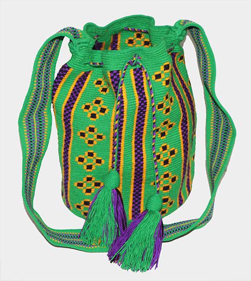 Mochila Wayuu Verde y Morado
