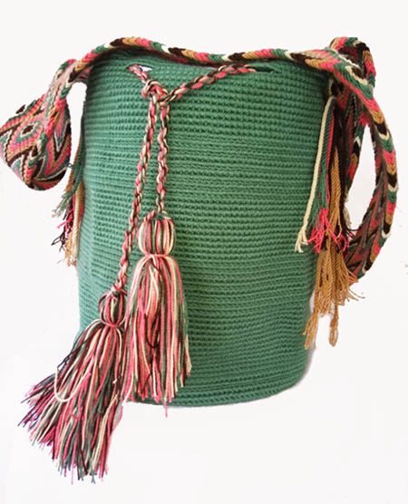 Mochila Wayuu Verde Menta